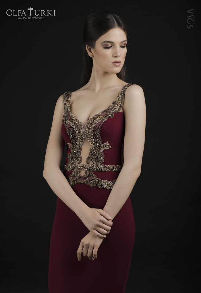 Robe rouge bordeaux Nesrine